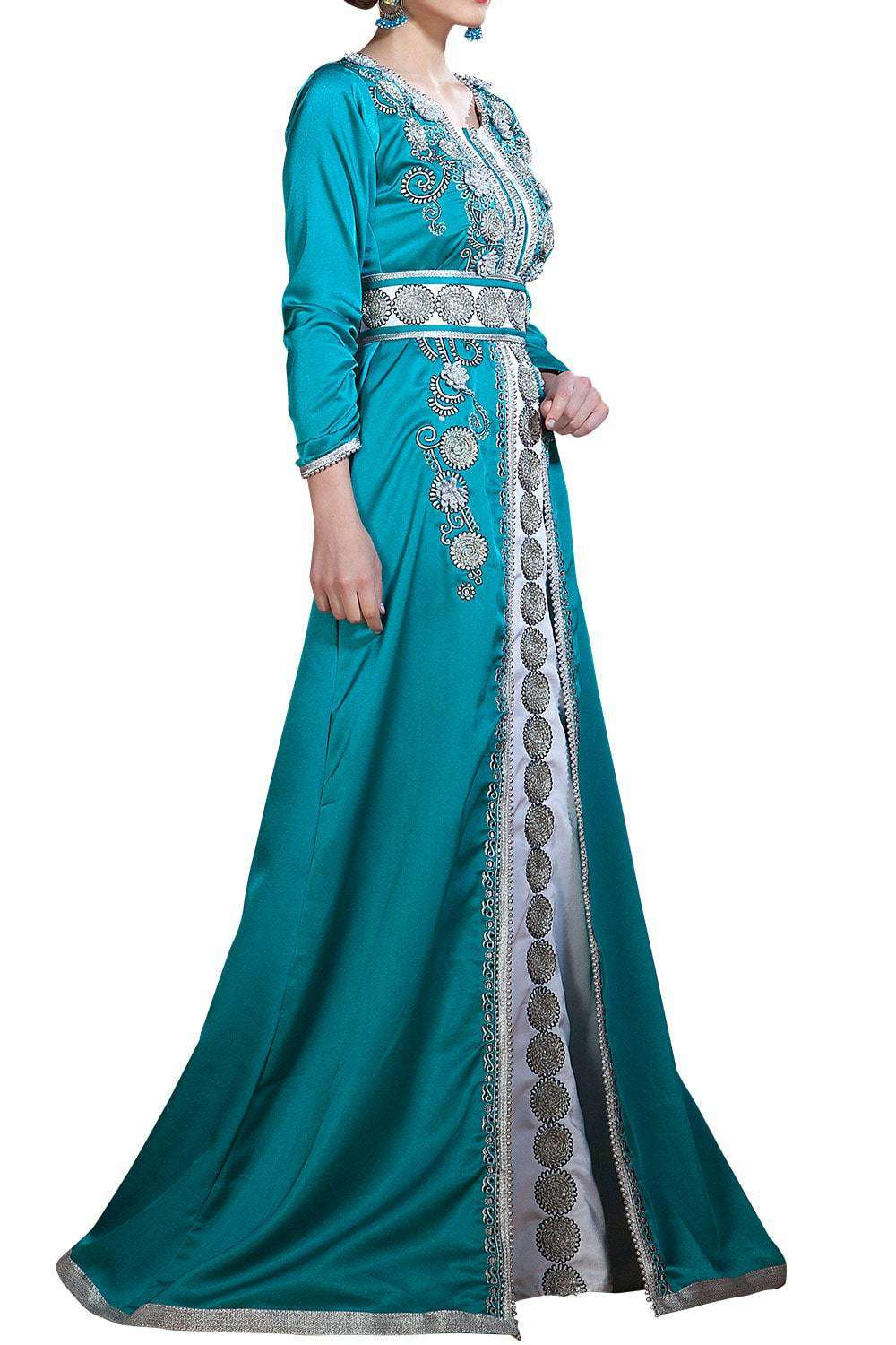Exquisite Dark See Green and White Color Party Wear Takchita