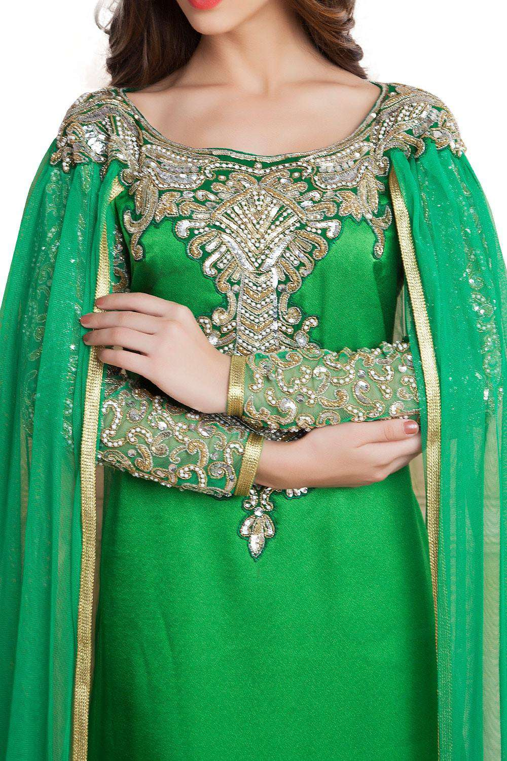 Green Color Designer Handmade Arabic Long Sleeve Wedding Islamic Dress