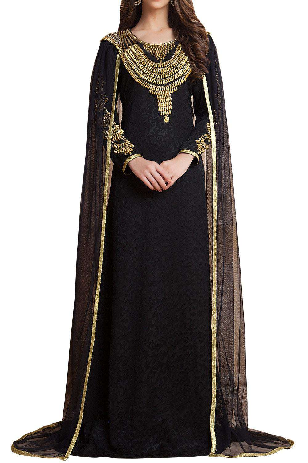 Black Color Net Brasso Arab Dubai Style Islamic Dress With Veil