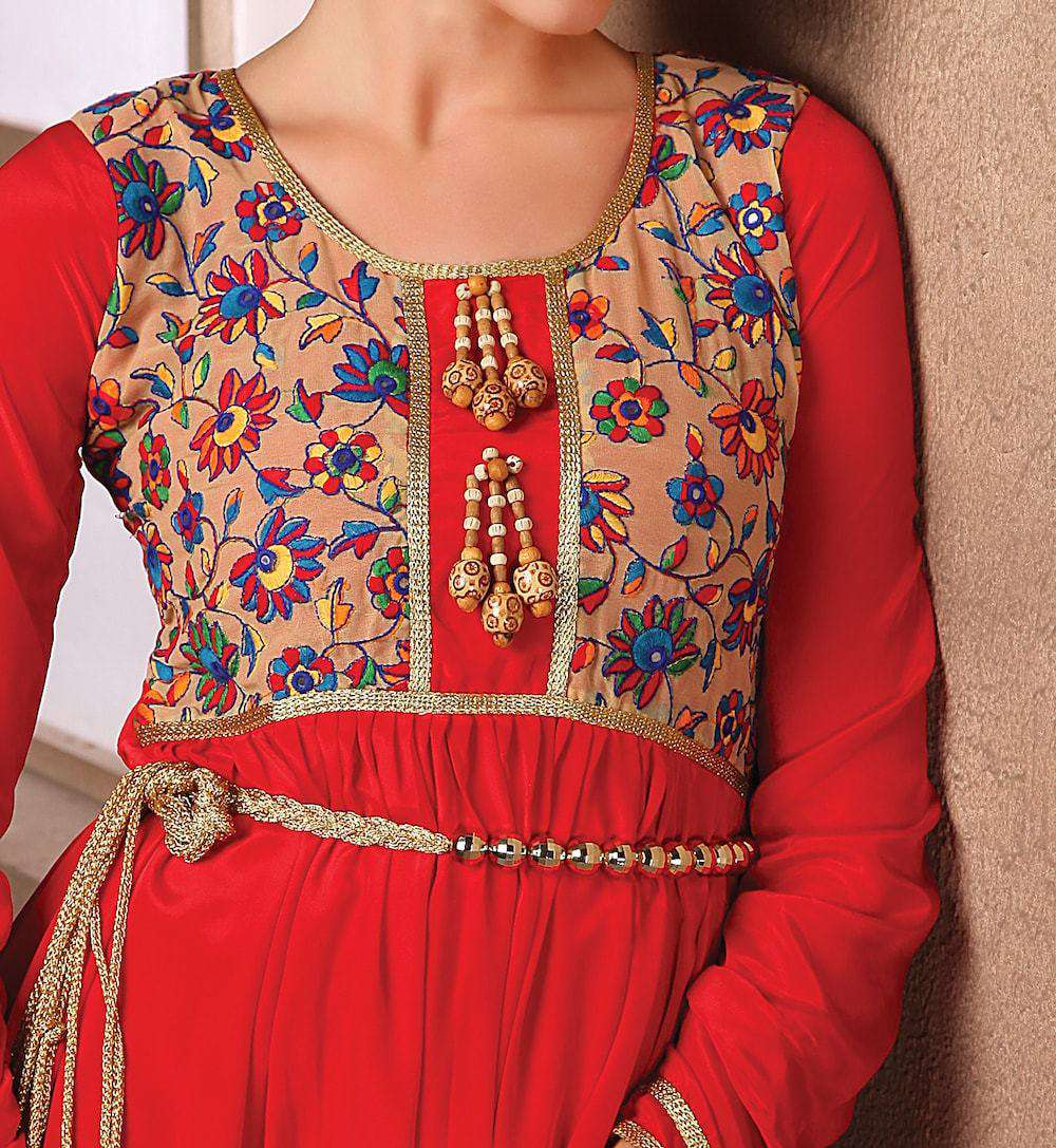 Red Long Sleeve Formal Embroidered Islamic Dress MYPF1199