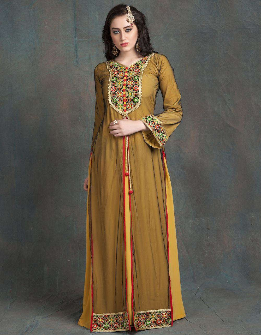 Golden & Yellow Modern Style Embroidery Full Sleeve Formal Caftan MYPF1204