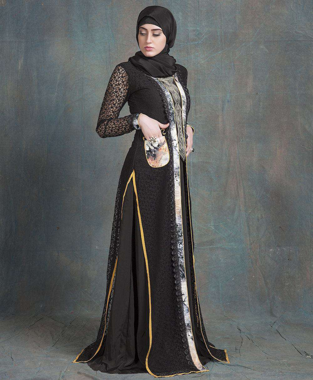 Black Net Arabic Style Caftan with Pocket and Thread Work Islamic Dress MYPF1212