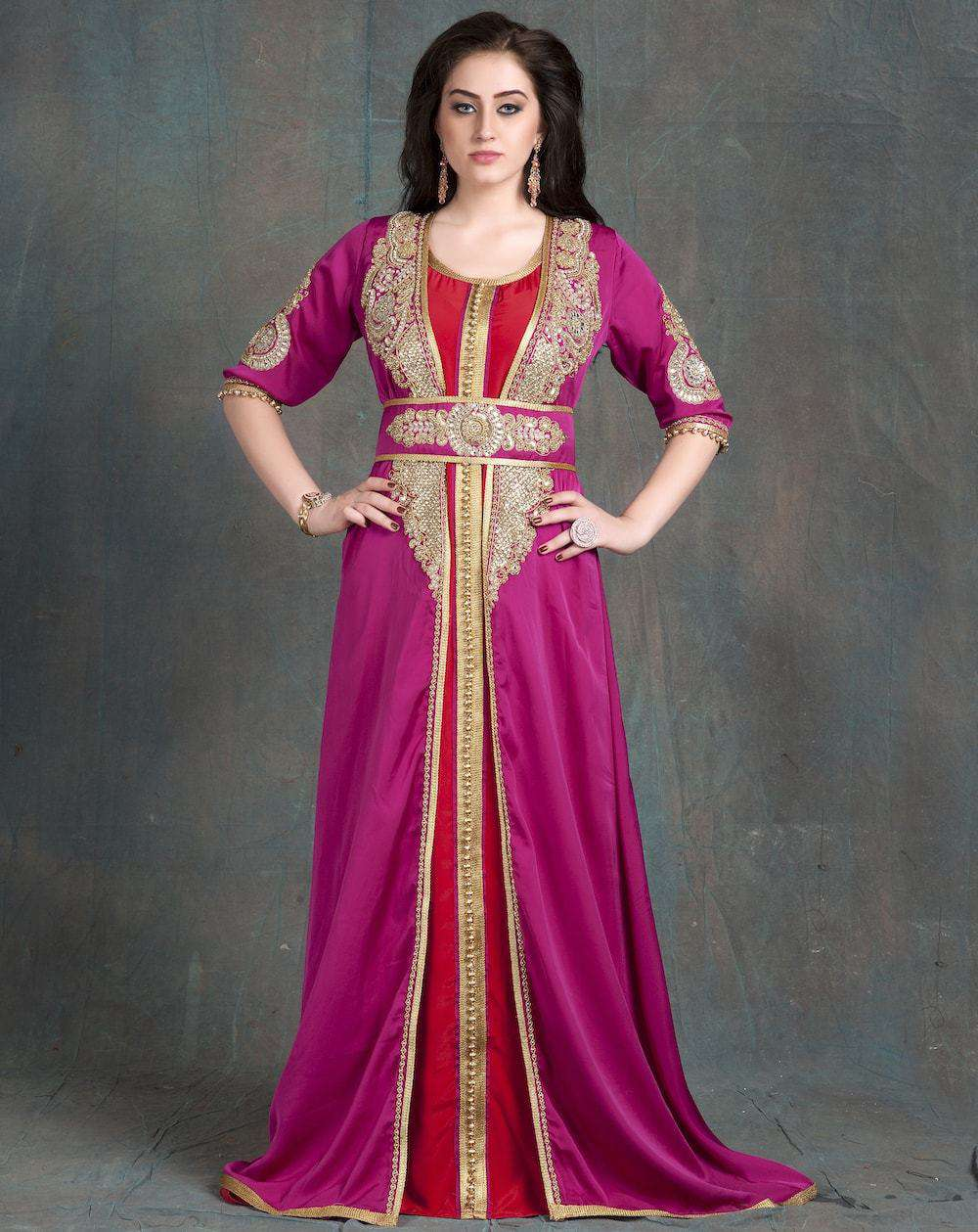 Pink and Maroon Party Wear Jacket Style Dubai Style Takchita MYPF1218