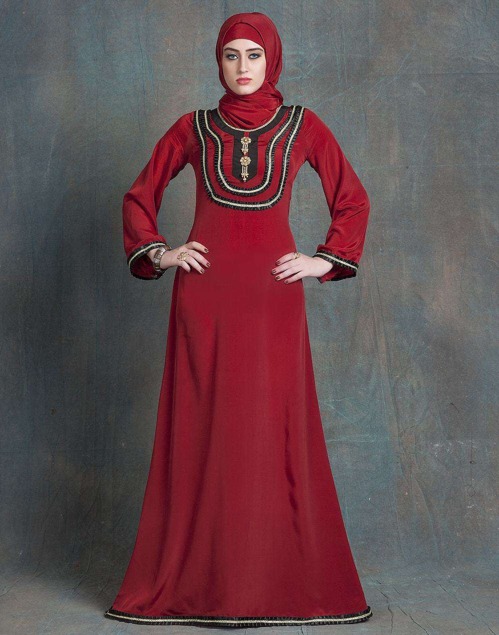 Maroon Crepe Wedding Gown Designer Hand Beaded Islamic Dress MYPF1222