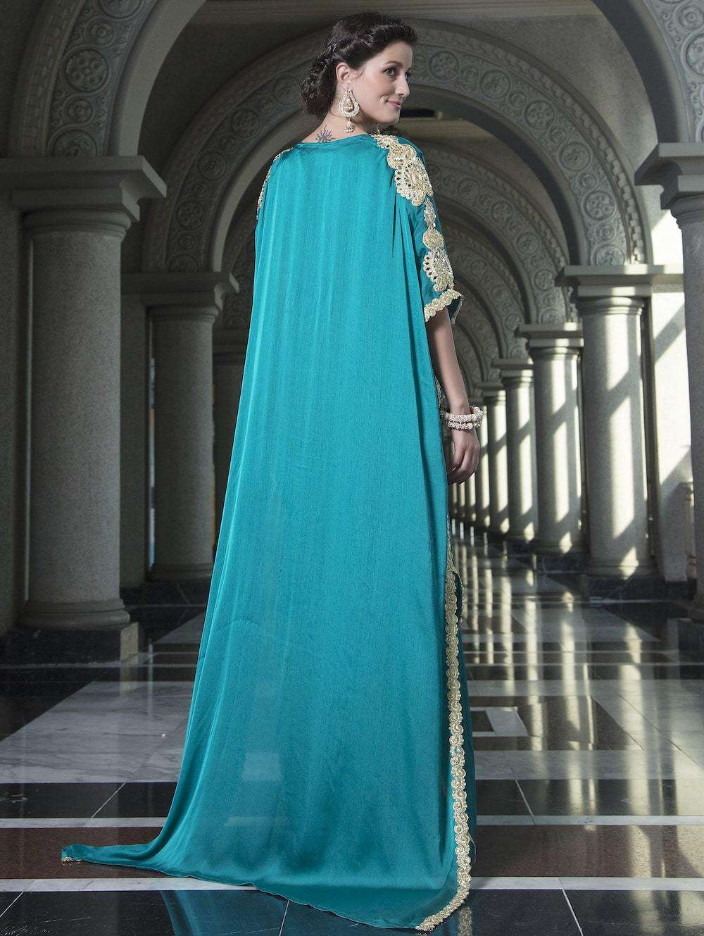 Sea Green Evening Dress Arabic Kaftan MYPF1231