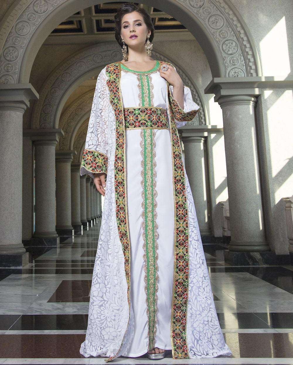 White Arabic Style Net Gown With Embroidered Takchita MYPF1232