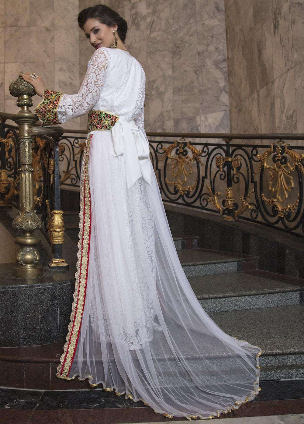 White Net Party Wear Gown With Embroidered Moroccan Kaftan MYPF1233