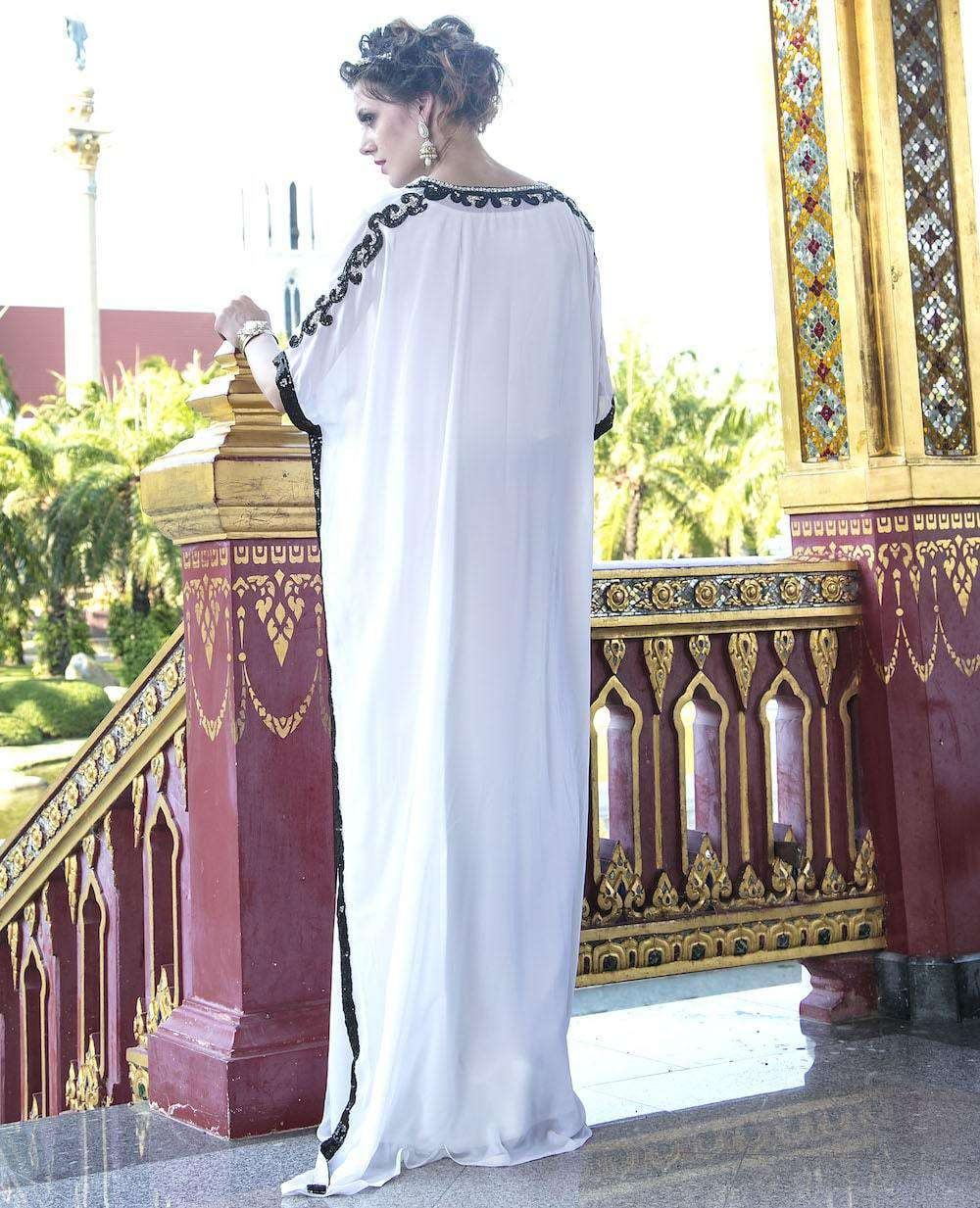 Off White Party Wear Stone and Sequence Work Jalabiya MYPF1243