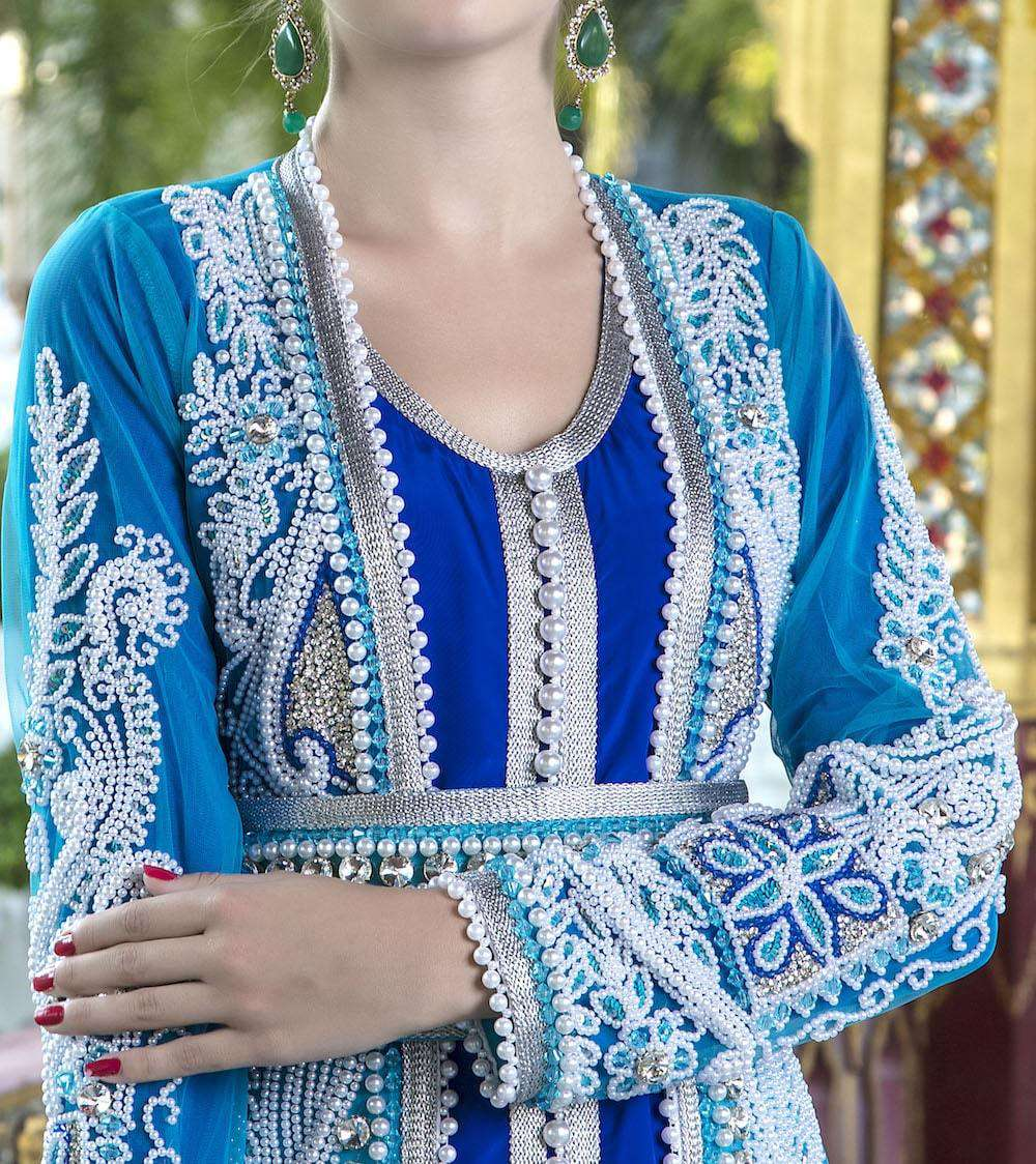 Blue Wedding Gown With Pearl Handwork Moroccan Kaftan MYPF1246