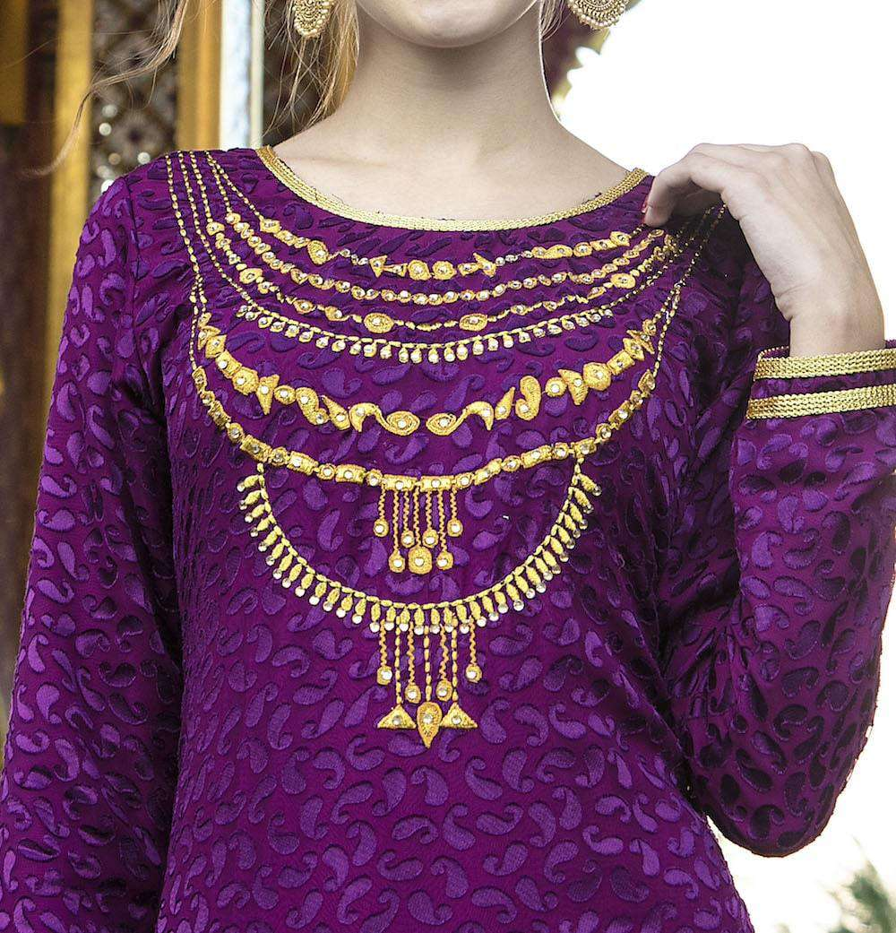 Purple Party Wear Thread And Stone Work Islamic Dress MYPF1250