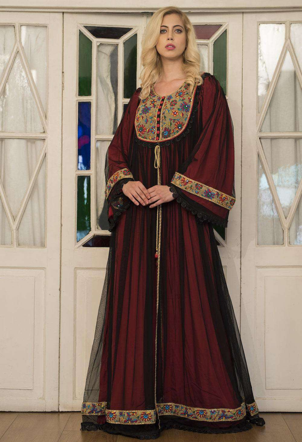 Black and Red Net Embroidered Wedding Islamic Dress MYPF1259