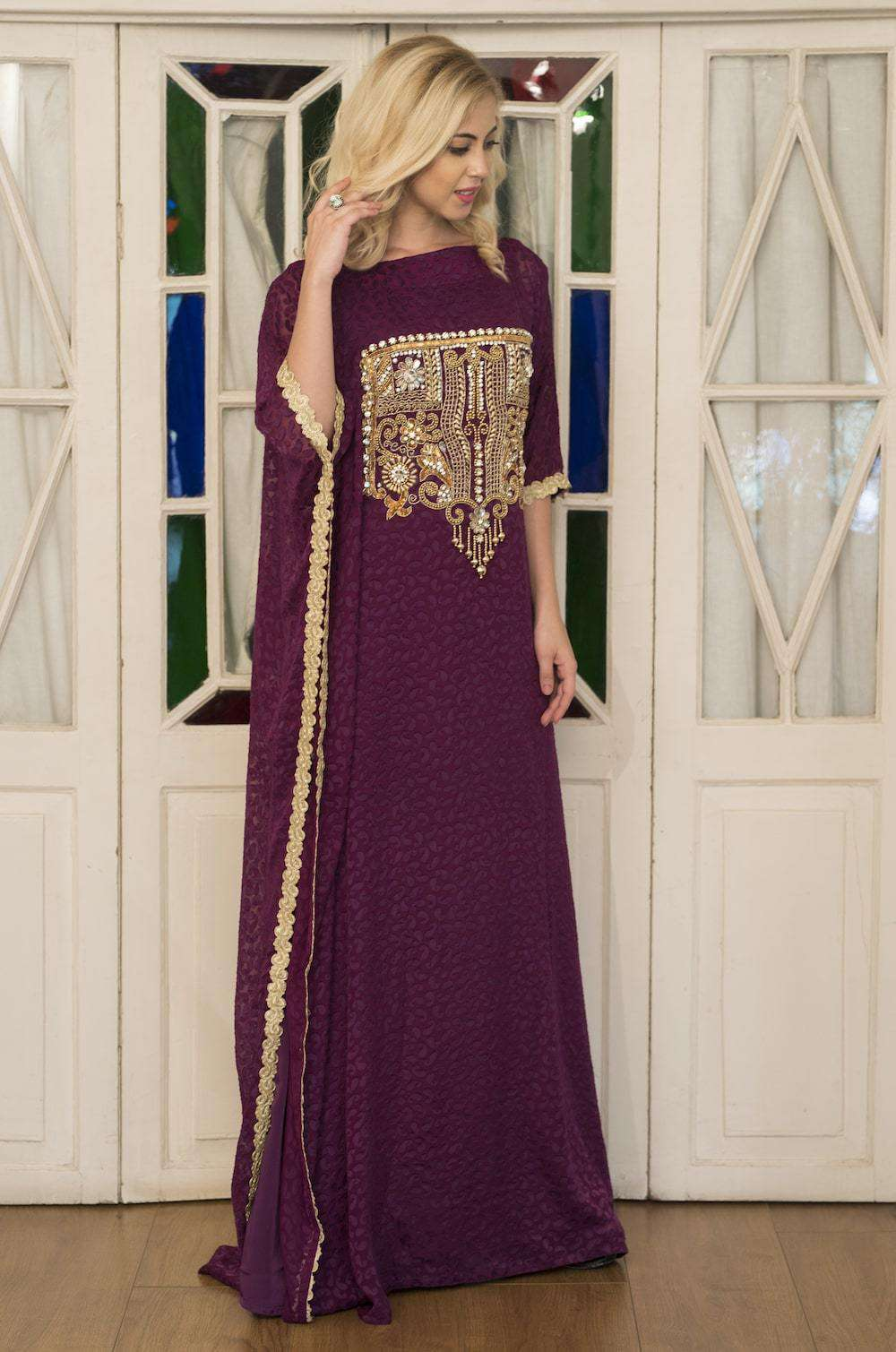 Purple Embroidered Arabic Style Hand Made Kaftan MYPF1261