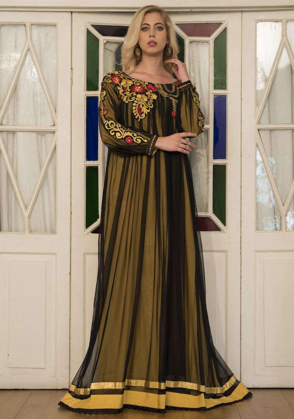 Gold & Yellow Embroidered Full Sleeve Formal Wedding Islamic Dress MYPF1268