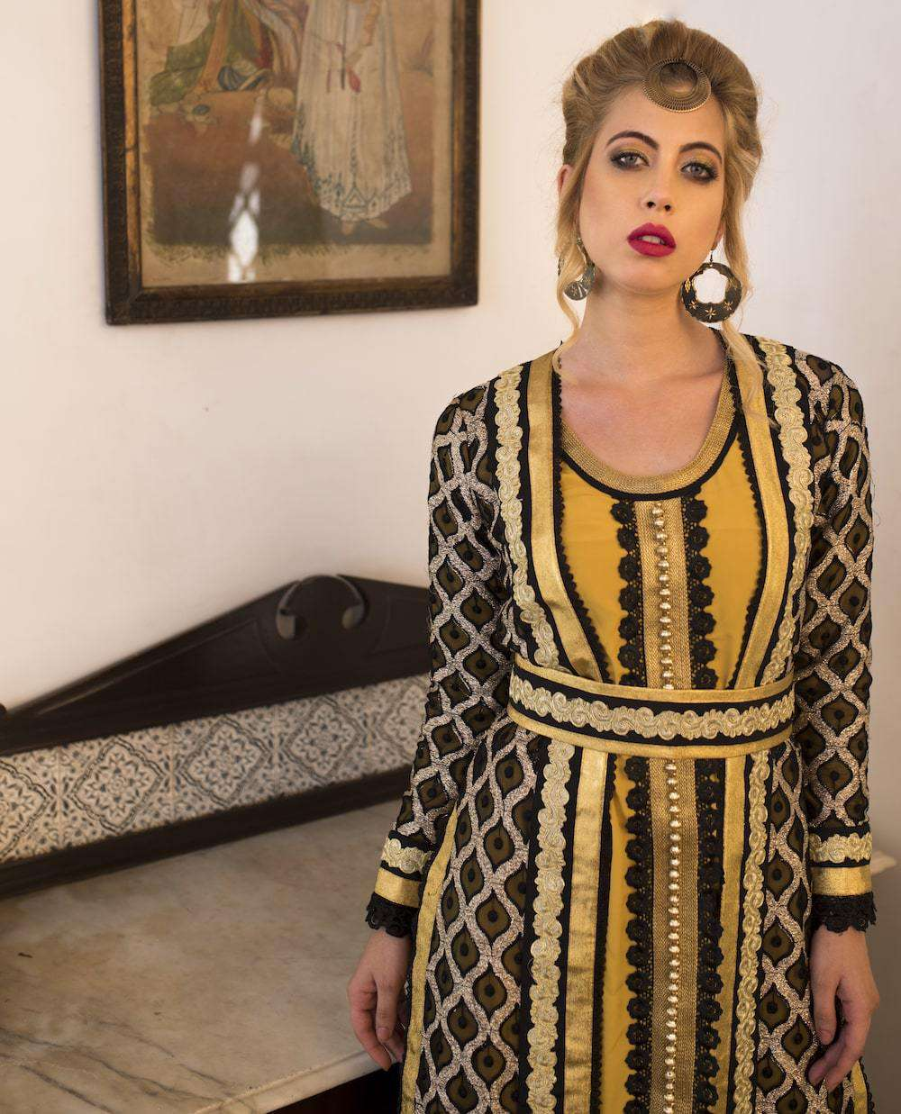 Black and Yellow Party Wear Arabic Style Takchita MYPF1270