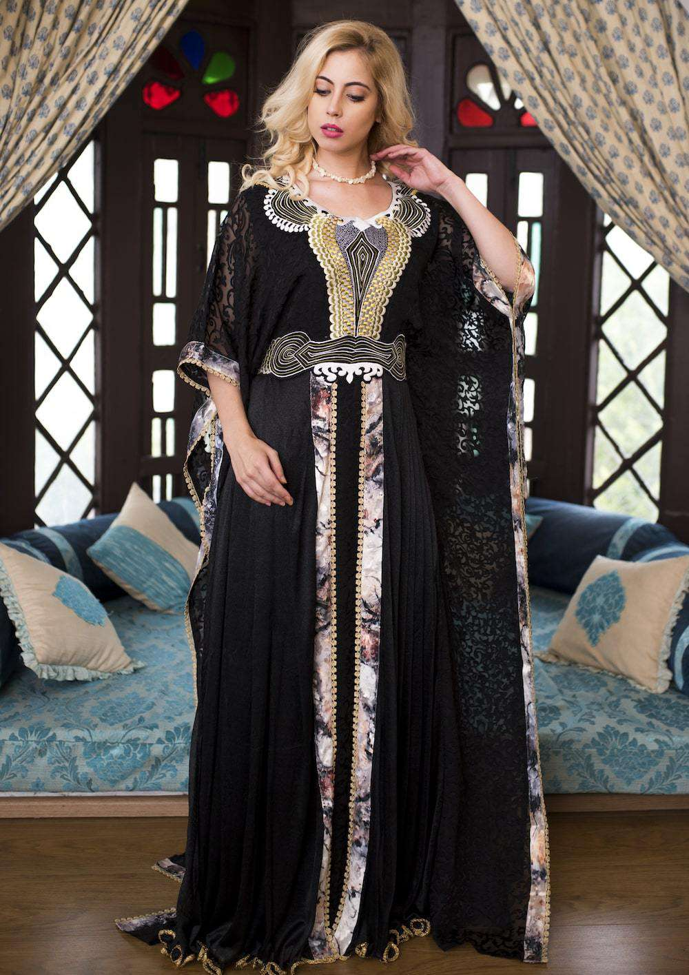Black Crepe with Thread Work Evening Caftan MYPF1278
