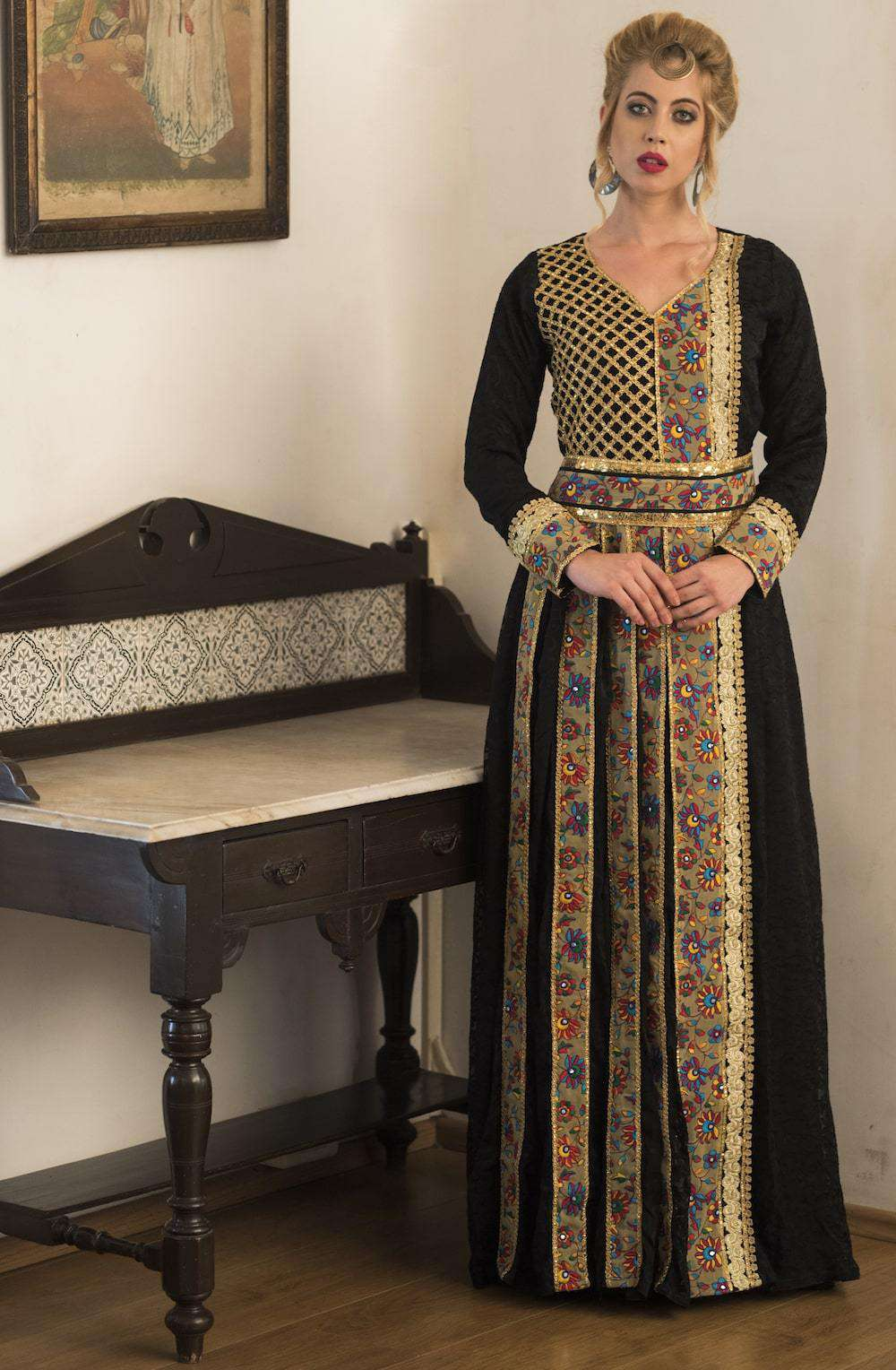 Black and Gold Embroidered Party Wear Full Sleeve Islamic Dress MYPF1284