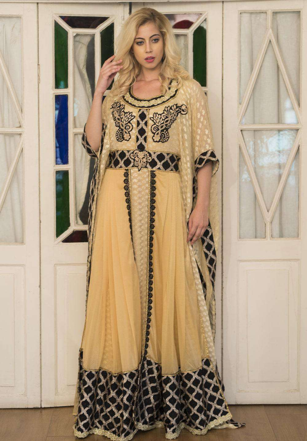 Fancy Beige & Black Embroidered Arabic Style Farasha MYPF1286