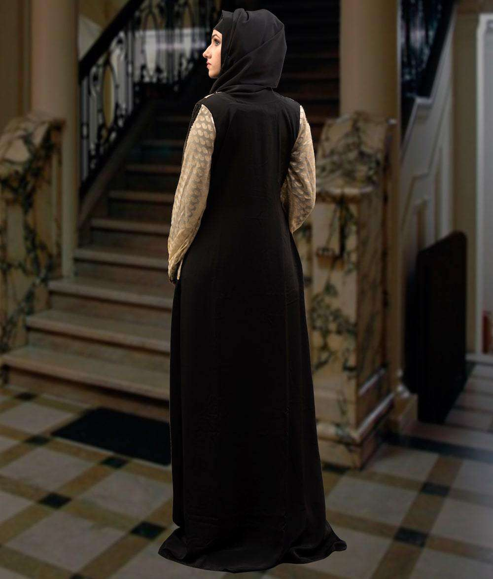 Black & Beige Full Sleeve Arabian Design Islamic Dress MYPF1290