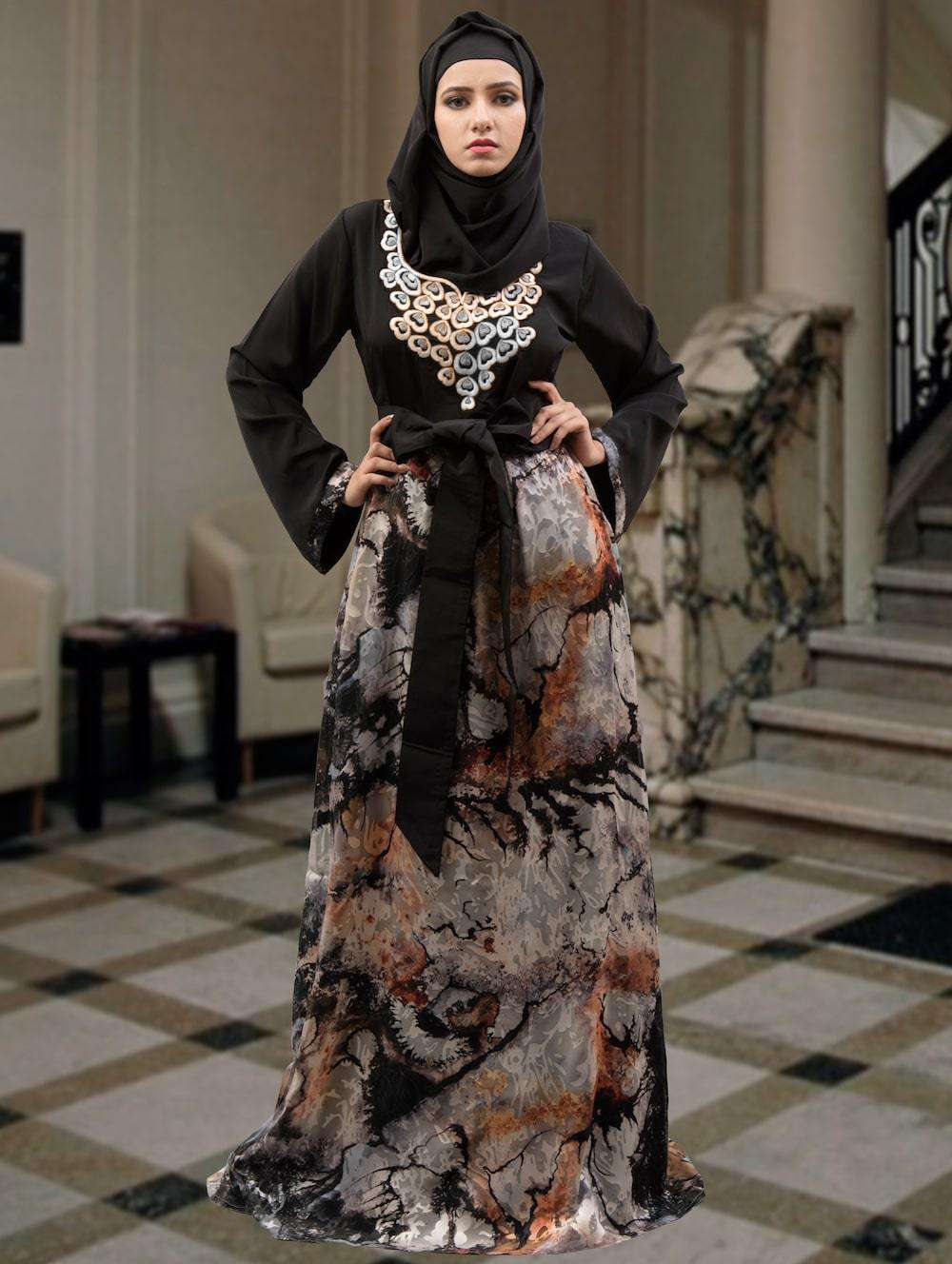 Fancy Black and Multicolor Arabic Muslim Caftan MYPF1295