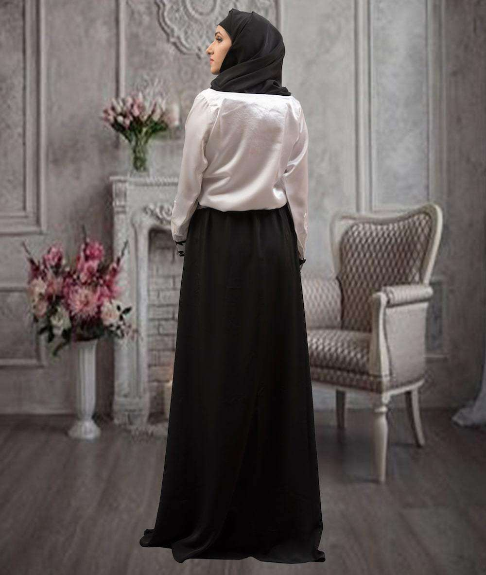 Classic Elegant Black & White Evening Arabic Style Islamic Dress MYPF1296
