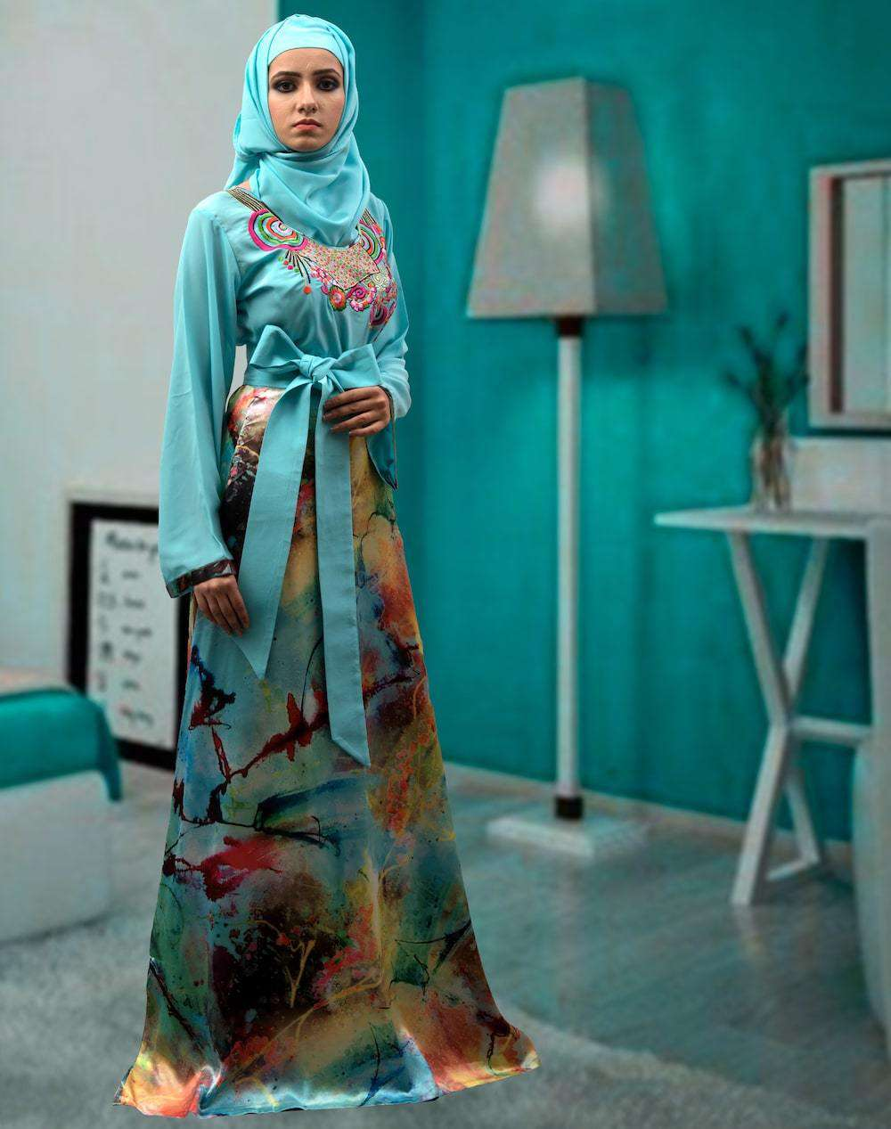 Fancy Blue & Multicolor Modest Muslim Evening Caftan MYPF1299