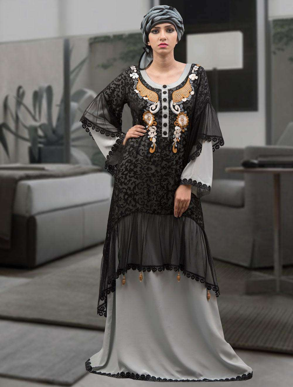 Fancy Black & Grey Thread Work Arabic Style Islamic Dress MYPF1300