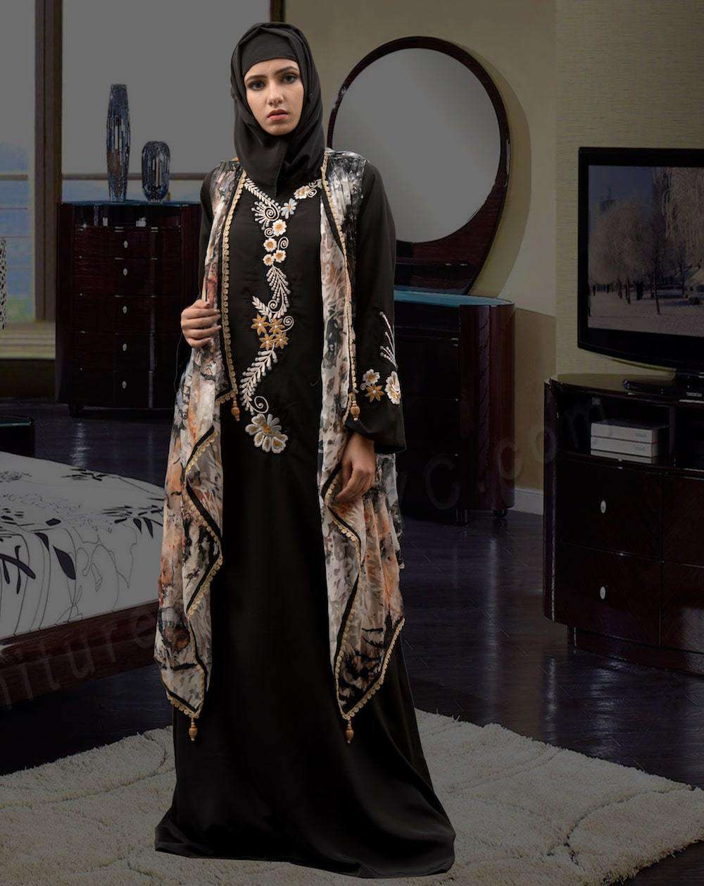 Black and Multicolor Printed Arabic Style Islamic Dress MYPF1301