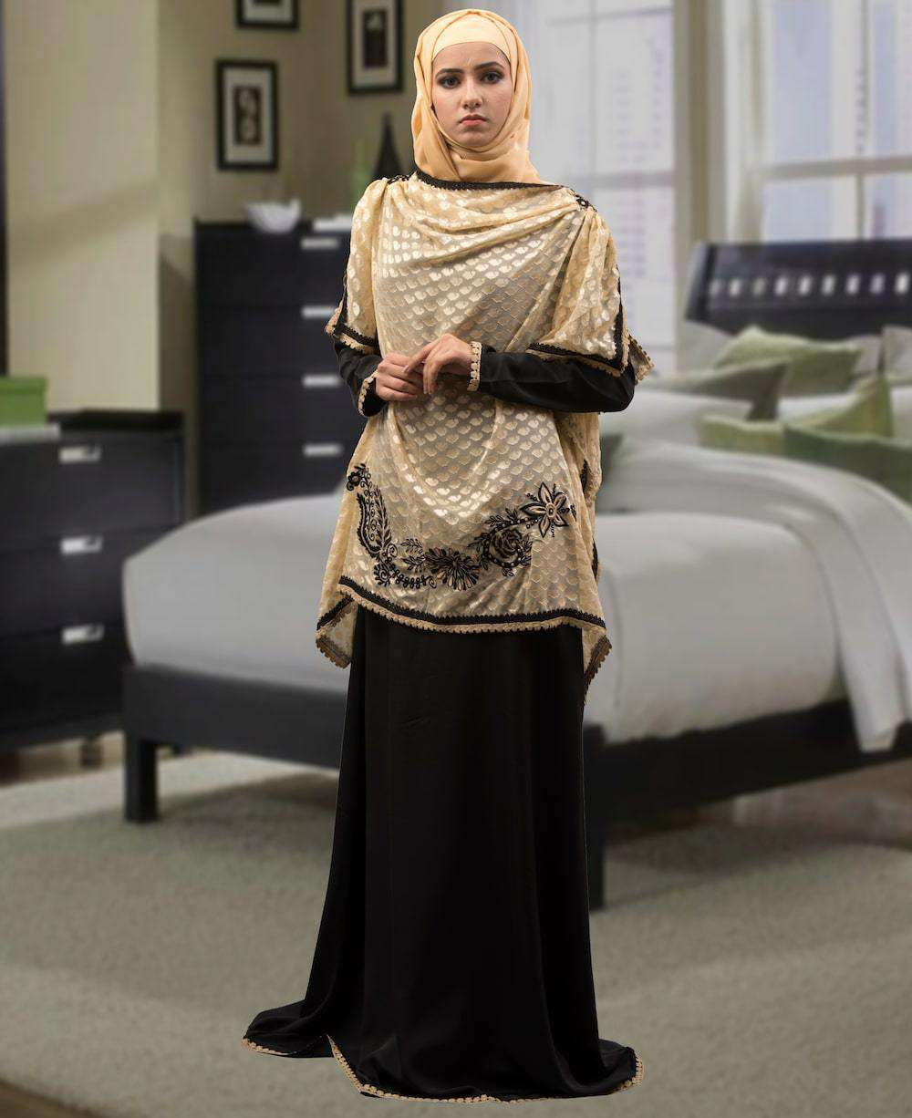 Black and Beige Embroidered Islamic Dress MYPF1306