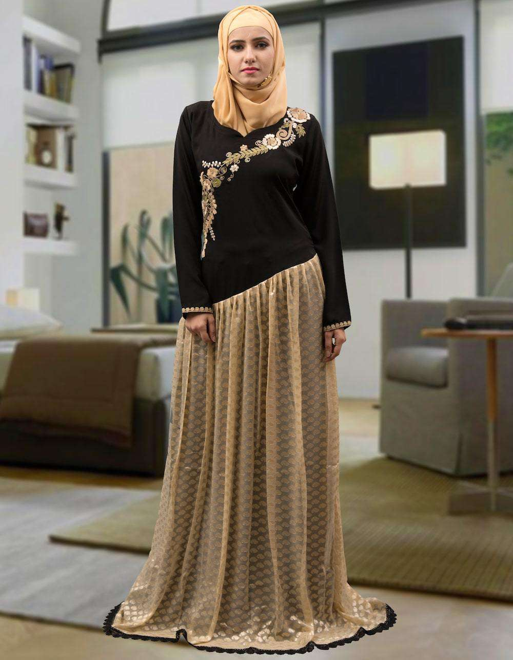 Trendy Black and Beige Crepe Arabic Style Caftan MYPF1308