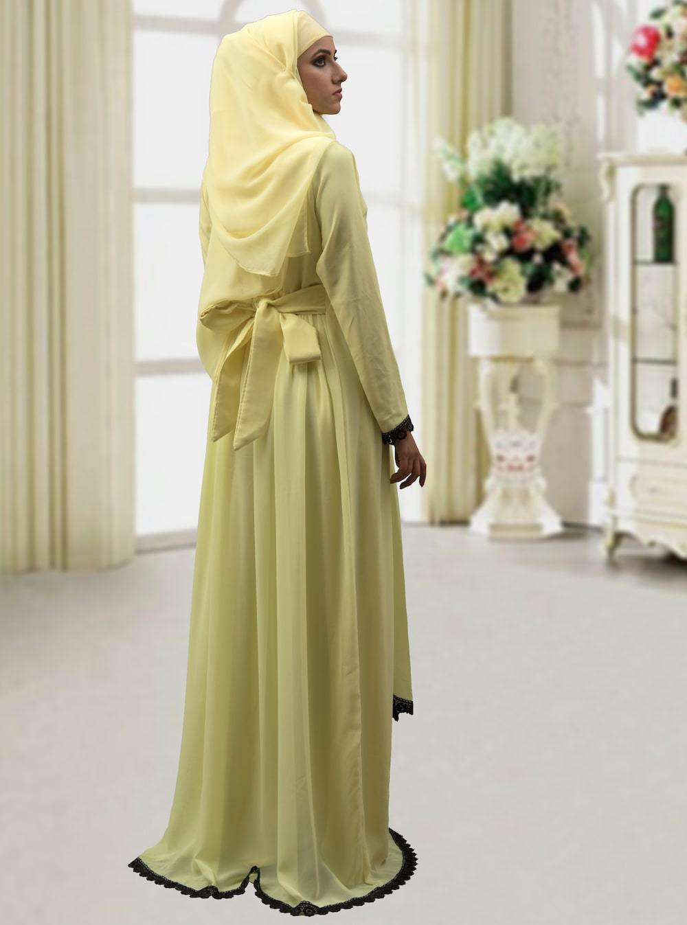 Lemon Yellow Modest Thread Work Islamic Dress MYPF1310