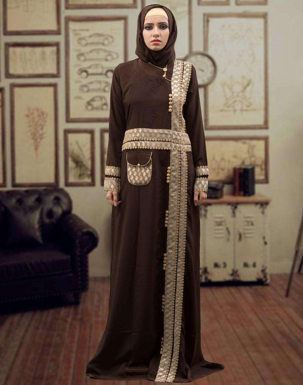 Trendy Brown and Beige Dubai Style Islamic Dress MYPF1313