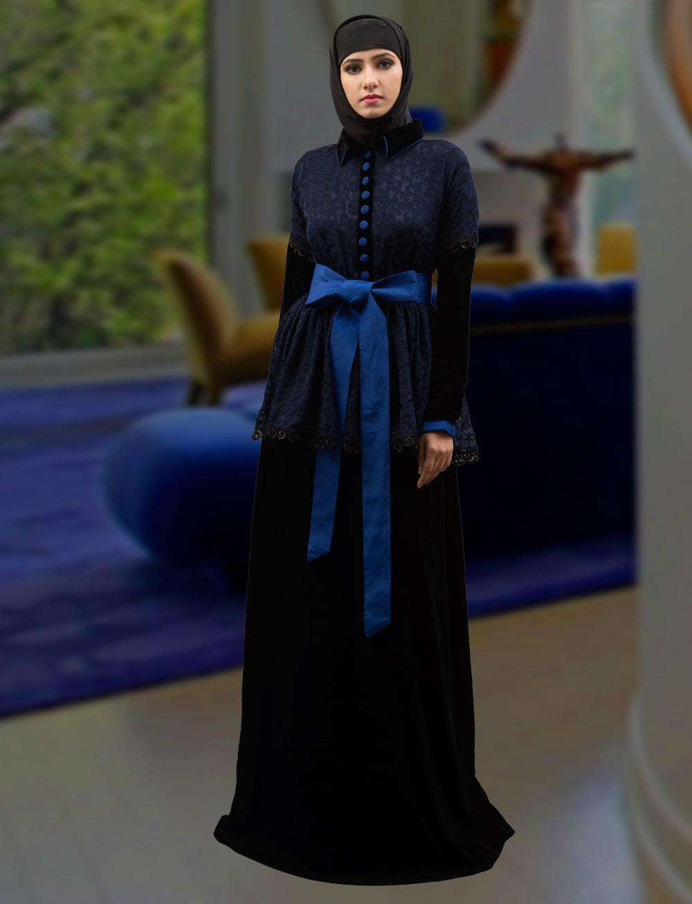 Dark Blue Brasso & Crepe Arabic Style Islamic Dress MYPF1317