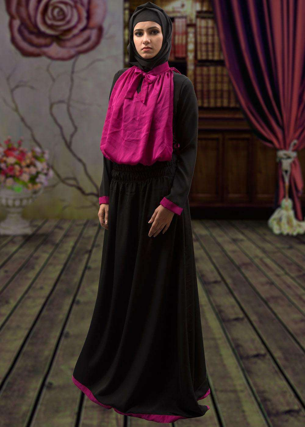 Black and Pink Trendy Georgette Arabic Style Islamic Dress MYPF1327