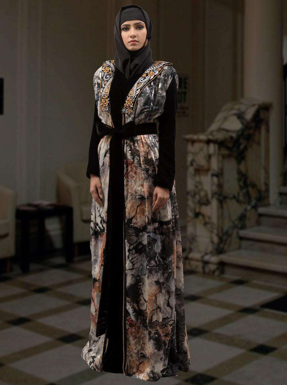 Black and Multicolor Evening Moroccan Kaftan MYPF1331