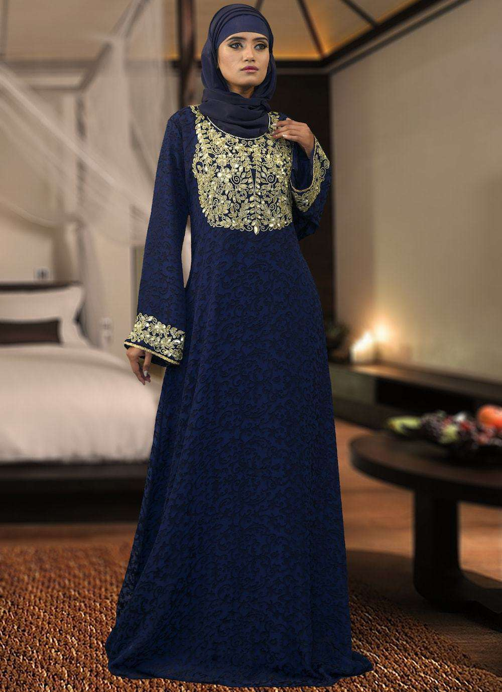 Dark Blue Arabian Style Full Sleeve Islamic Dress MYPF1335