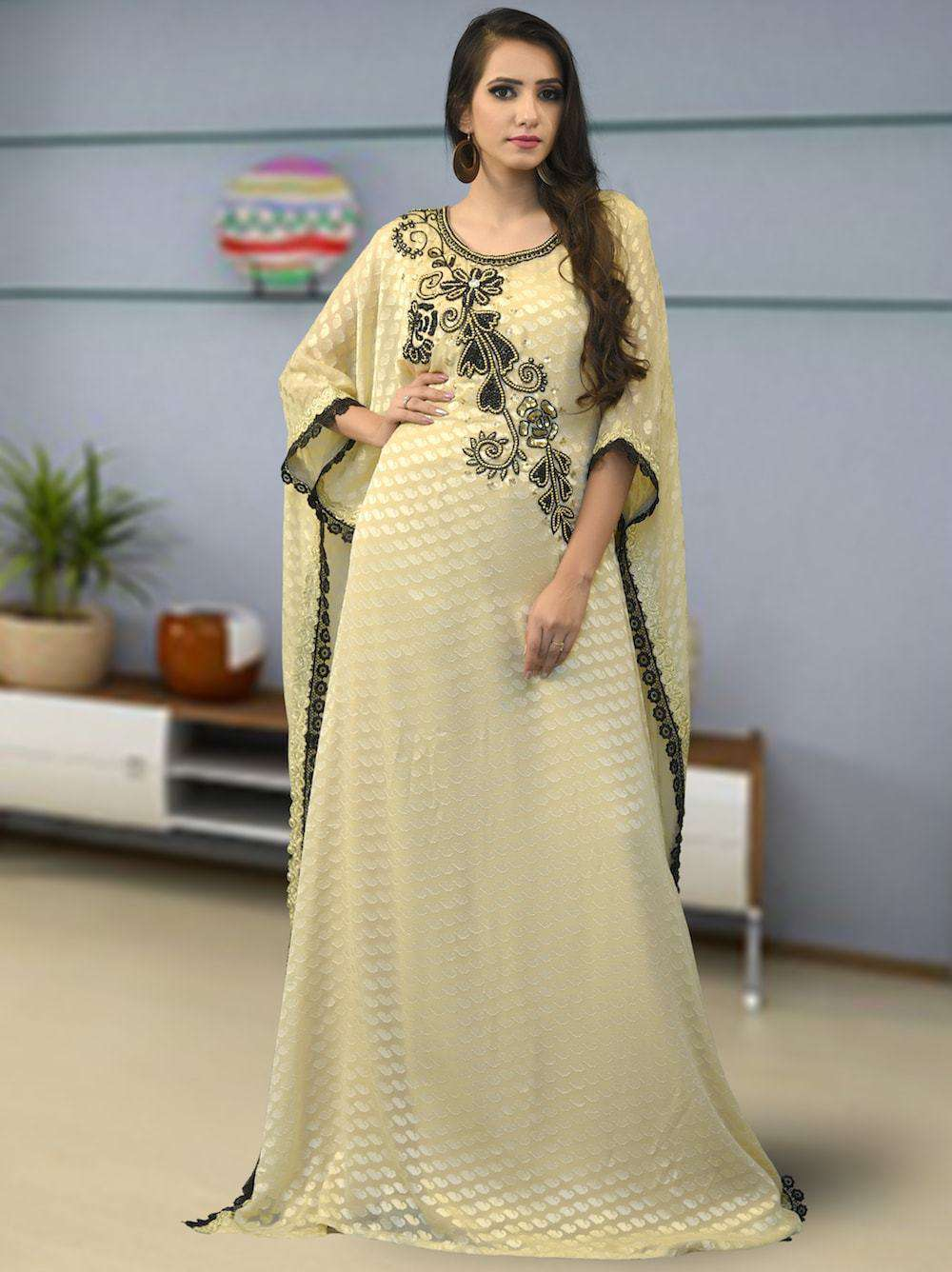 Beige Party Wear Dubai Style Farasha MYPF1336