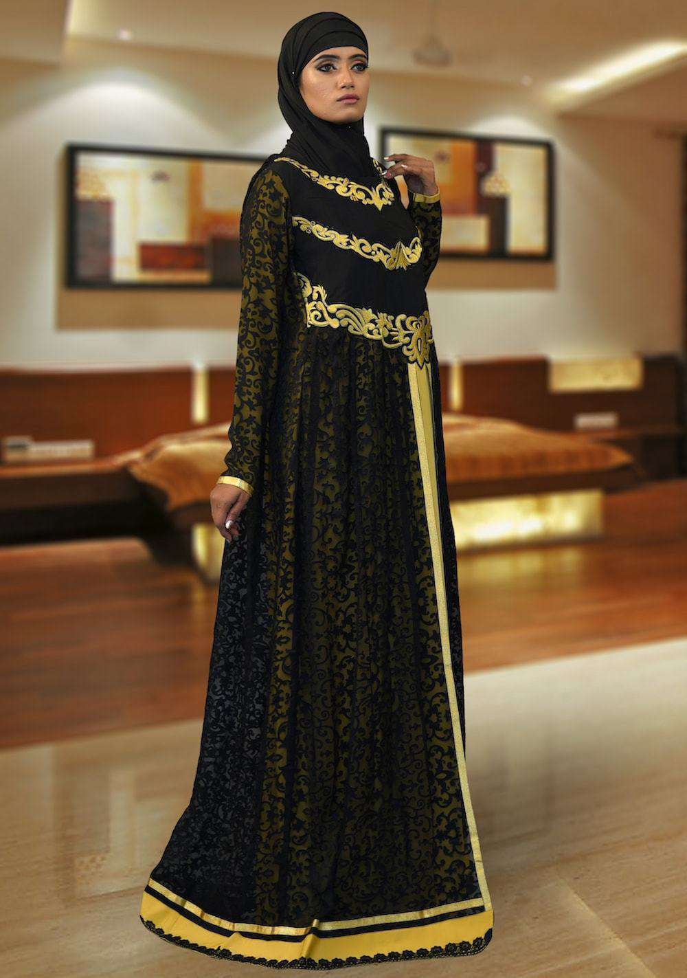 Black and Yellow Party Wear Dubai Style Caftan MYPF1344