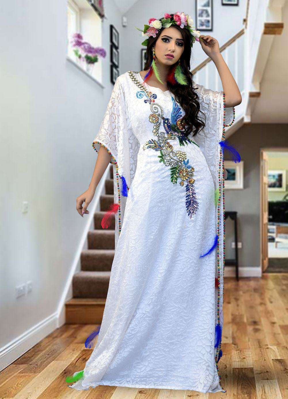 White Classic Evening Kaftan With Gold Sequins Handwork Farasha MYPF1345
