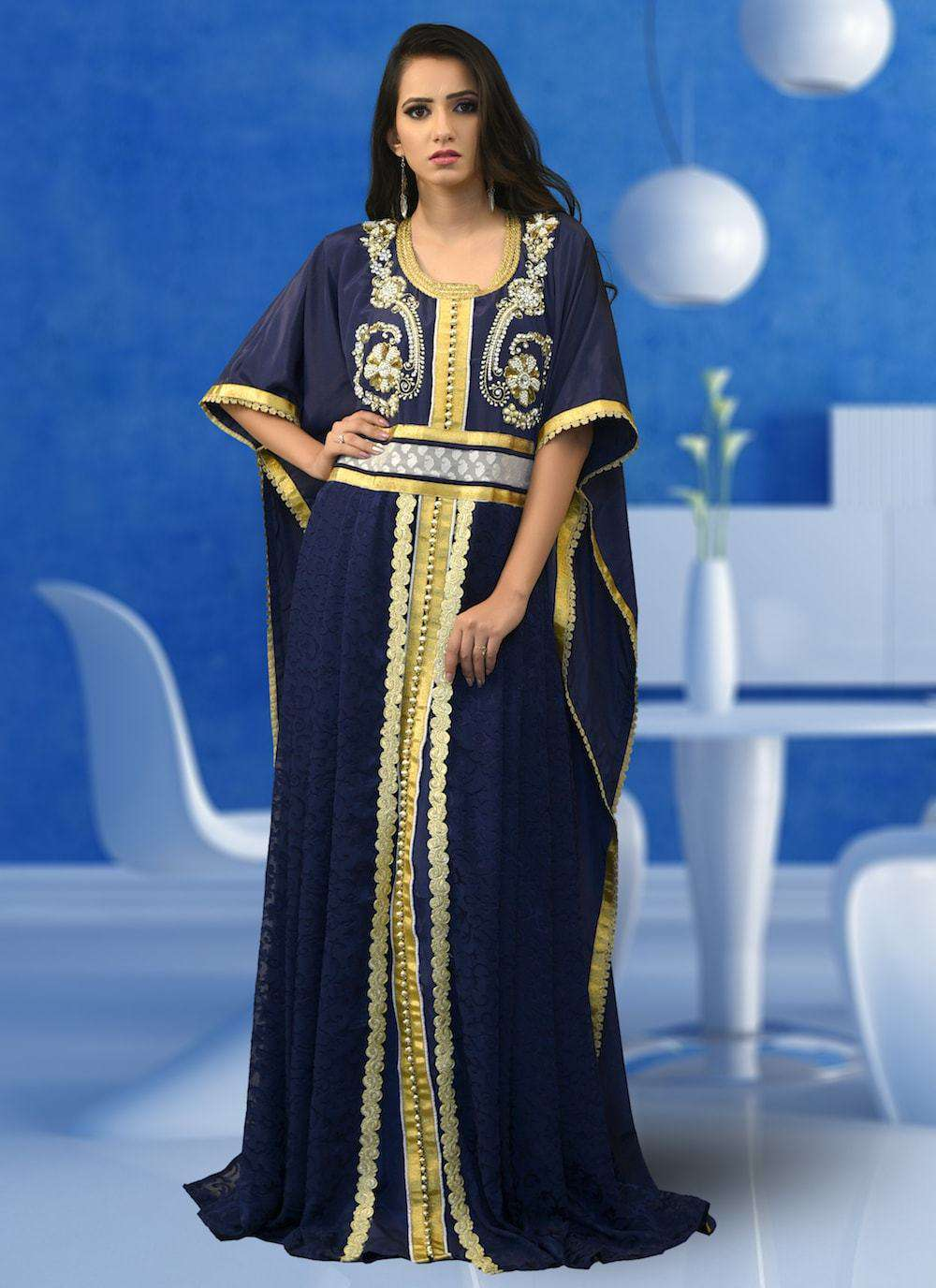 Dark Blue Embroidered Islamic Party Wear Caftan MYPF1359