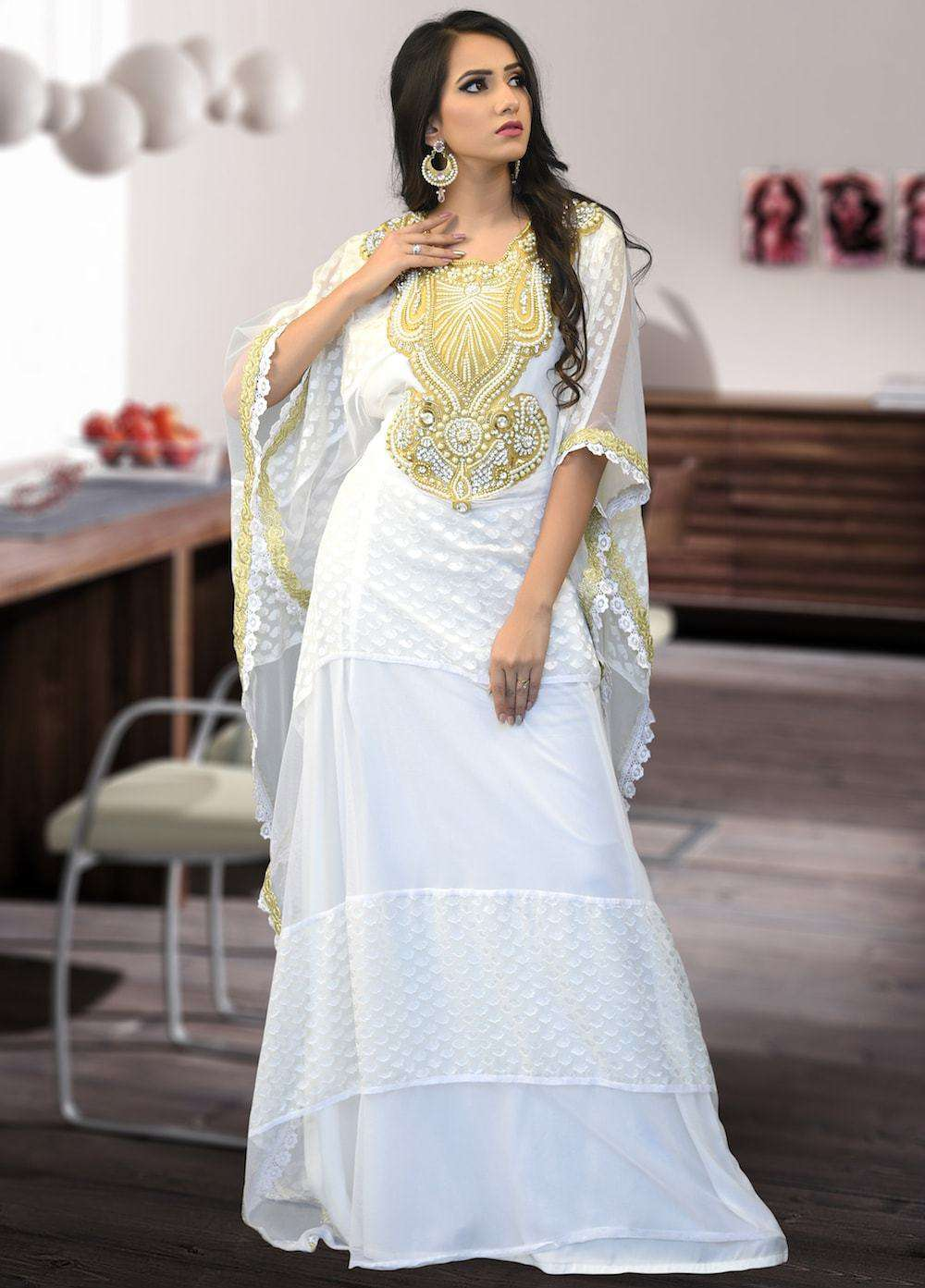 Beautiful Off White Crepe Brasso Arabic Style Kaftan MYPF1360
