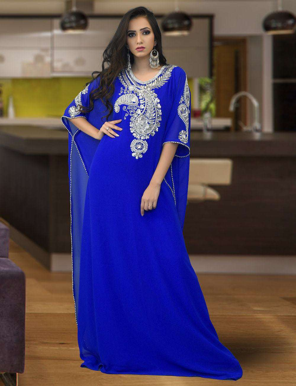 Beautiful Blue Embroidered Islamic Arabic Style Farasha MYPF1361