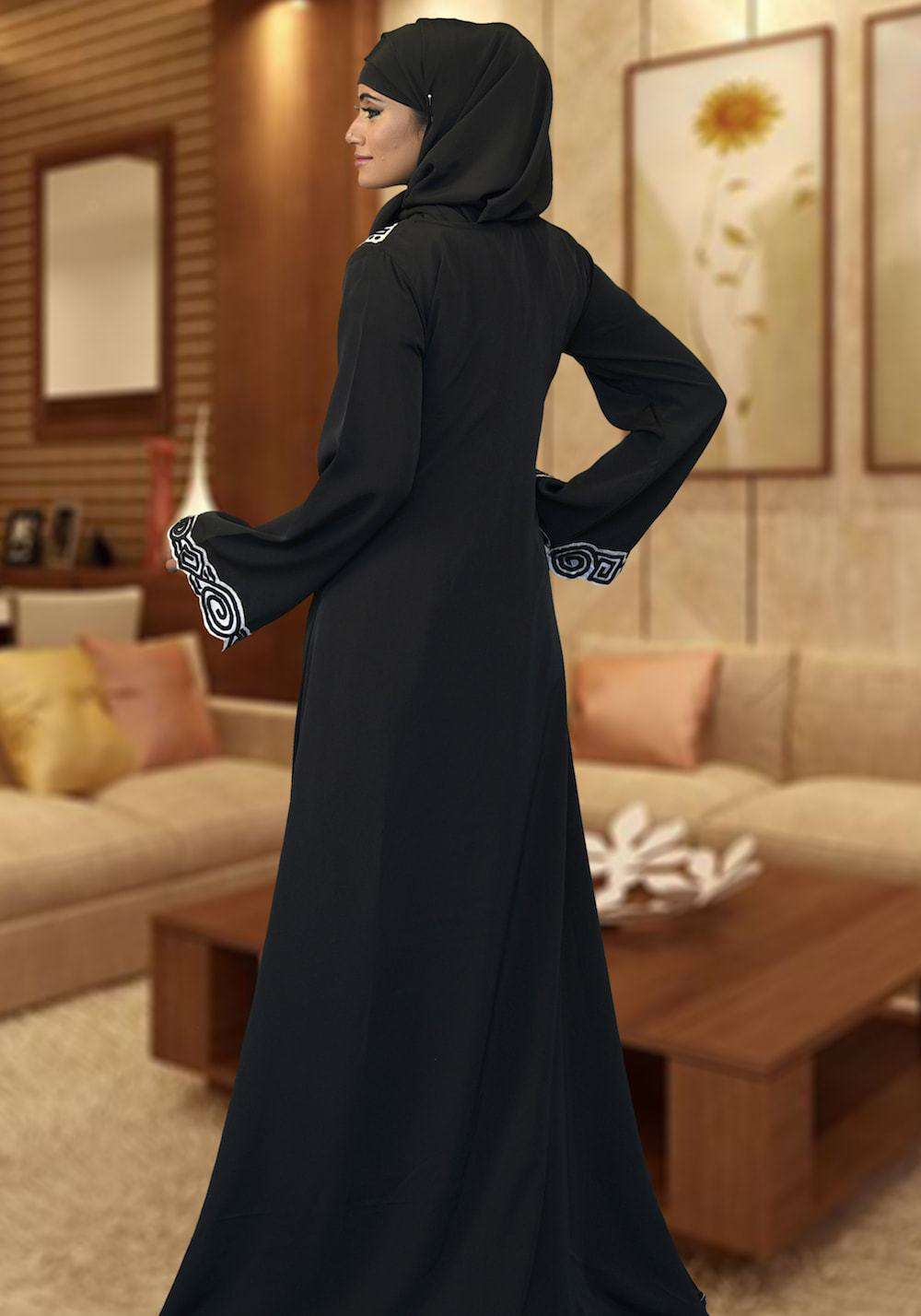 Black Modest Evening Embroidered Islamic Dress MYPF1379