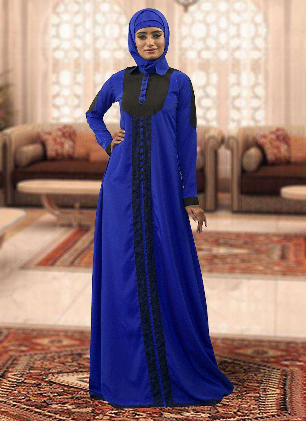 Blue and Black Handmade Arabic Style Islamic Dress MYPF1389