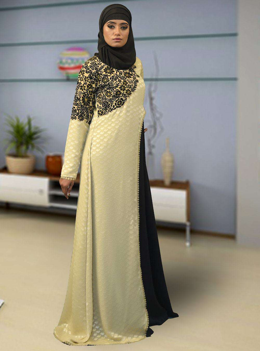 Black & Beige Embroidered Arabic Style Islamic Dress MYPF1393