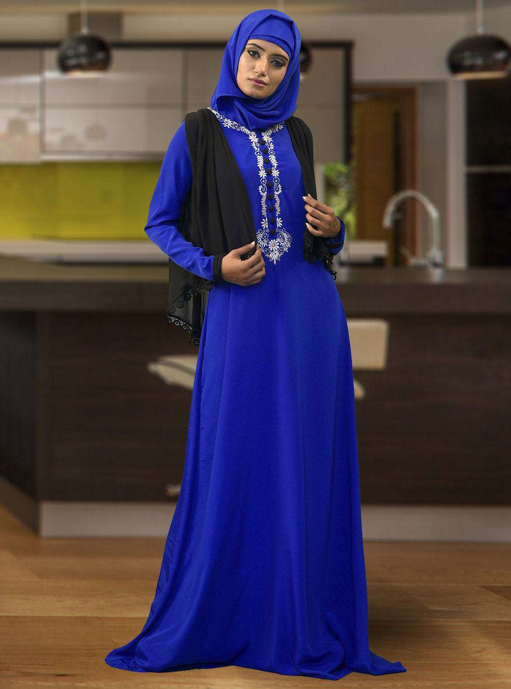 Modest Muslim Women Evening Black & Blue Islamic Dress MYPF1411