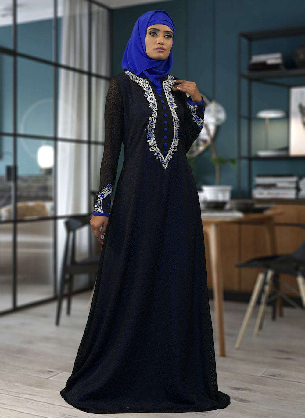 Black & Blue Embroidered Dubai Style Islamic Dress MYPF1412