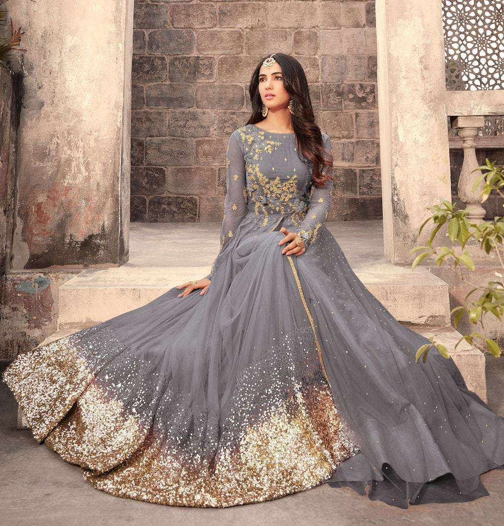 Unique Grey Embroidered Anarkali Salwar Kameez MYSK-024