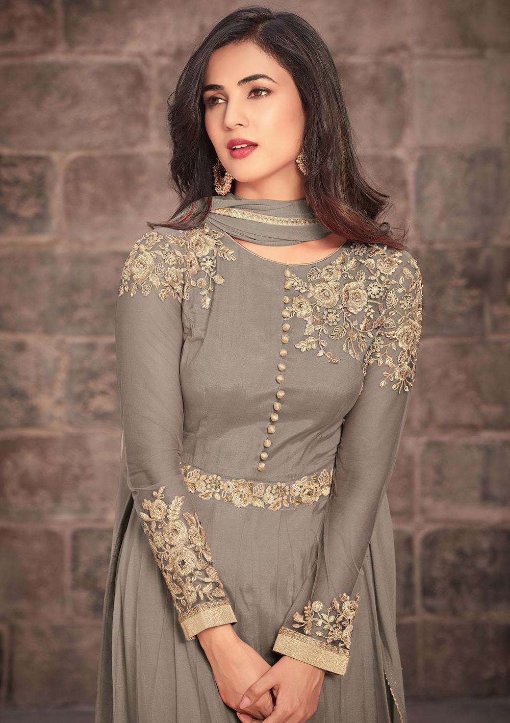 Embroidered Grey Anarkali Salwar Kameez MYSK-030