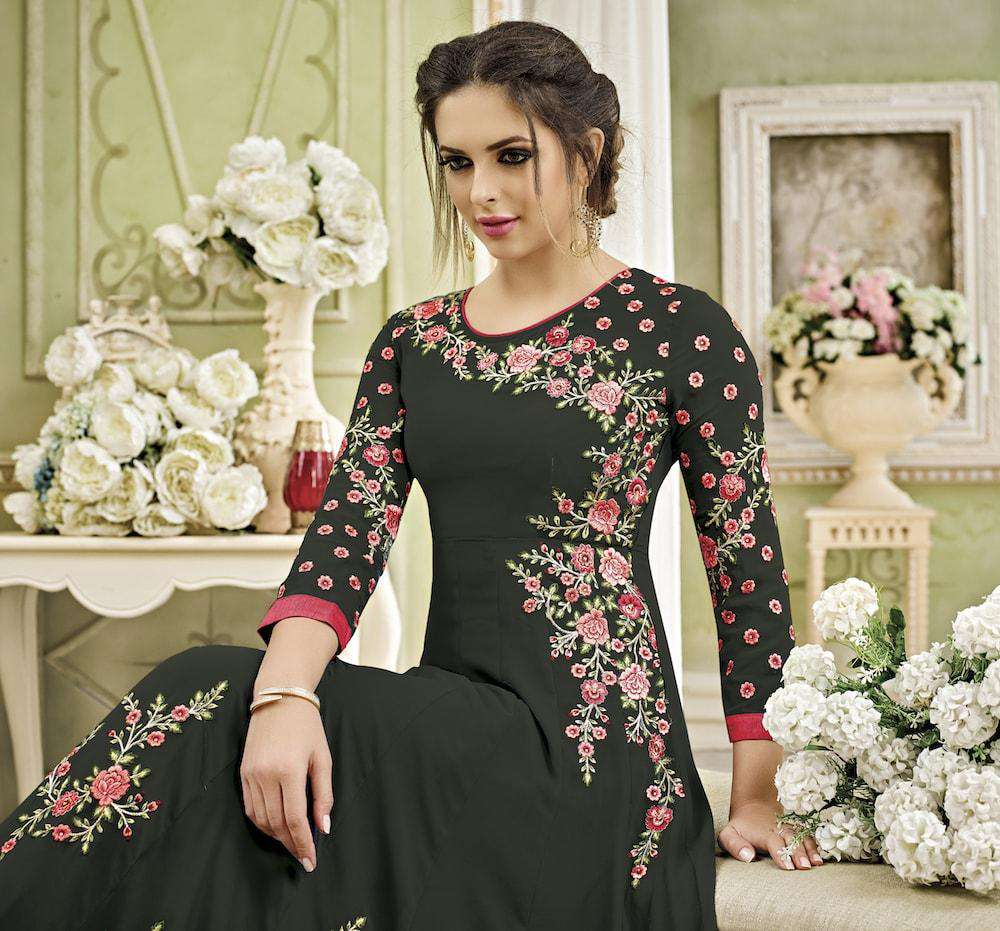 Anarkali Embroidered Dark Grey Salwar Kameez MYSK-039