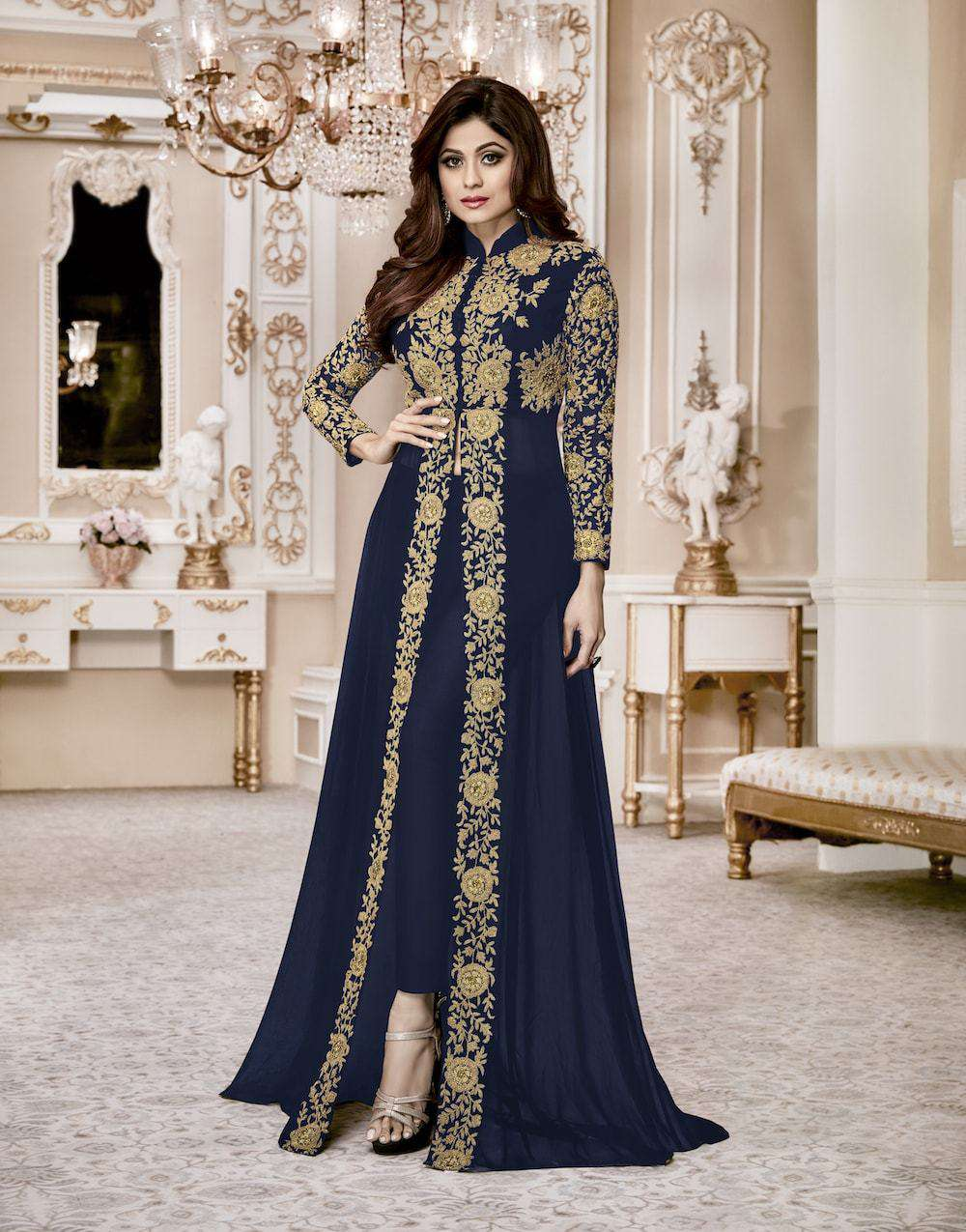 Stylish Navy Blue Embroidered Salwar Kameez MYSK-041